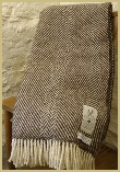 Natural British Wool Chevron Throw - Peat