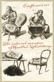 A craftsmen upholsterer at work in the 18th Century.
