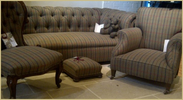A large chesterfield and other pieces all covered in our Pure New Wool Gloucestershire Check cloth