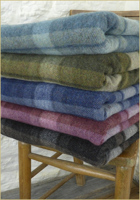 Cotswold Woollen Weavers' Lambswool Merino Mineral Plaid Throws