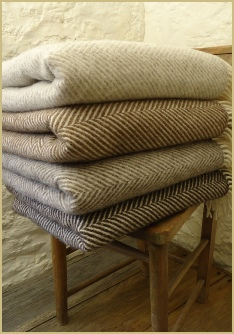 Cotswold Woollen Weavers' Natural British Wool Chevron throws