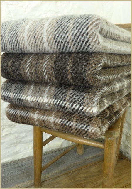 Cotswold Woollen Weavers' Natural British Wool Plaid & Throws