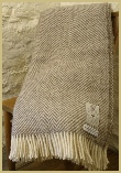 Natural British Wool Chevron Throw - Grey