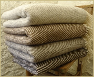 Natural British Wool Chevron Throws